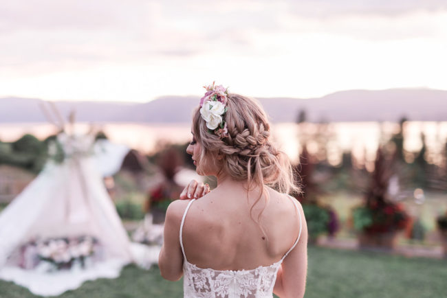 Natural Makeup bridal crown braid, up do's, okanagan weddings, bohemian styled photoshoot kelowna B.C. Hair stylist kelowna.
