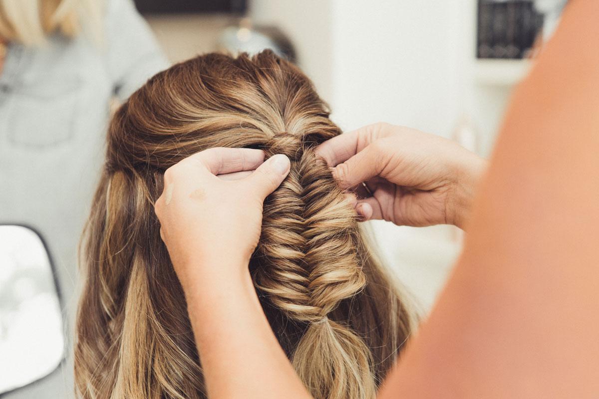 Chloe and Robbie Wedding - Bridal Fishtail Hair Braid