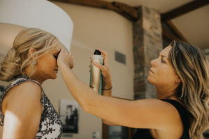 Kathryn Ramsay Esthetics doing hair on bride to be