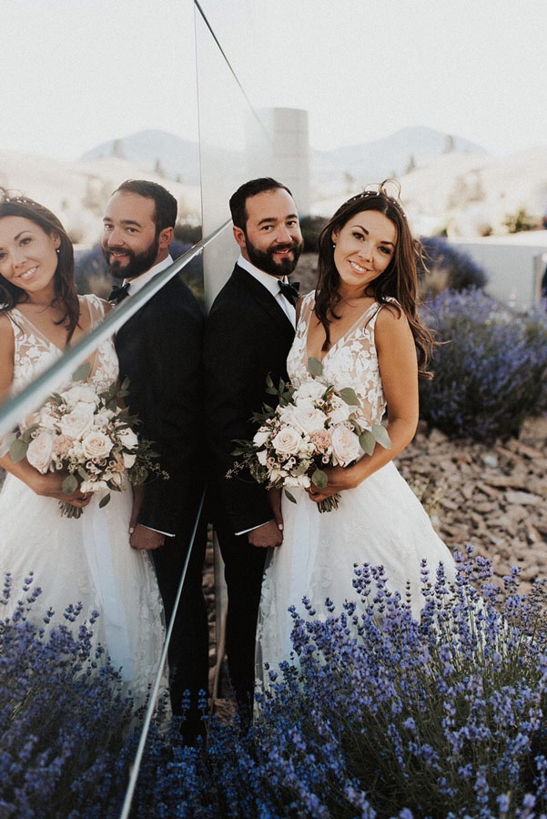 Bride and Groom with lavender