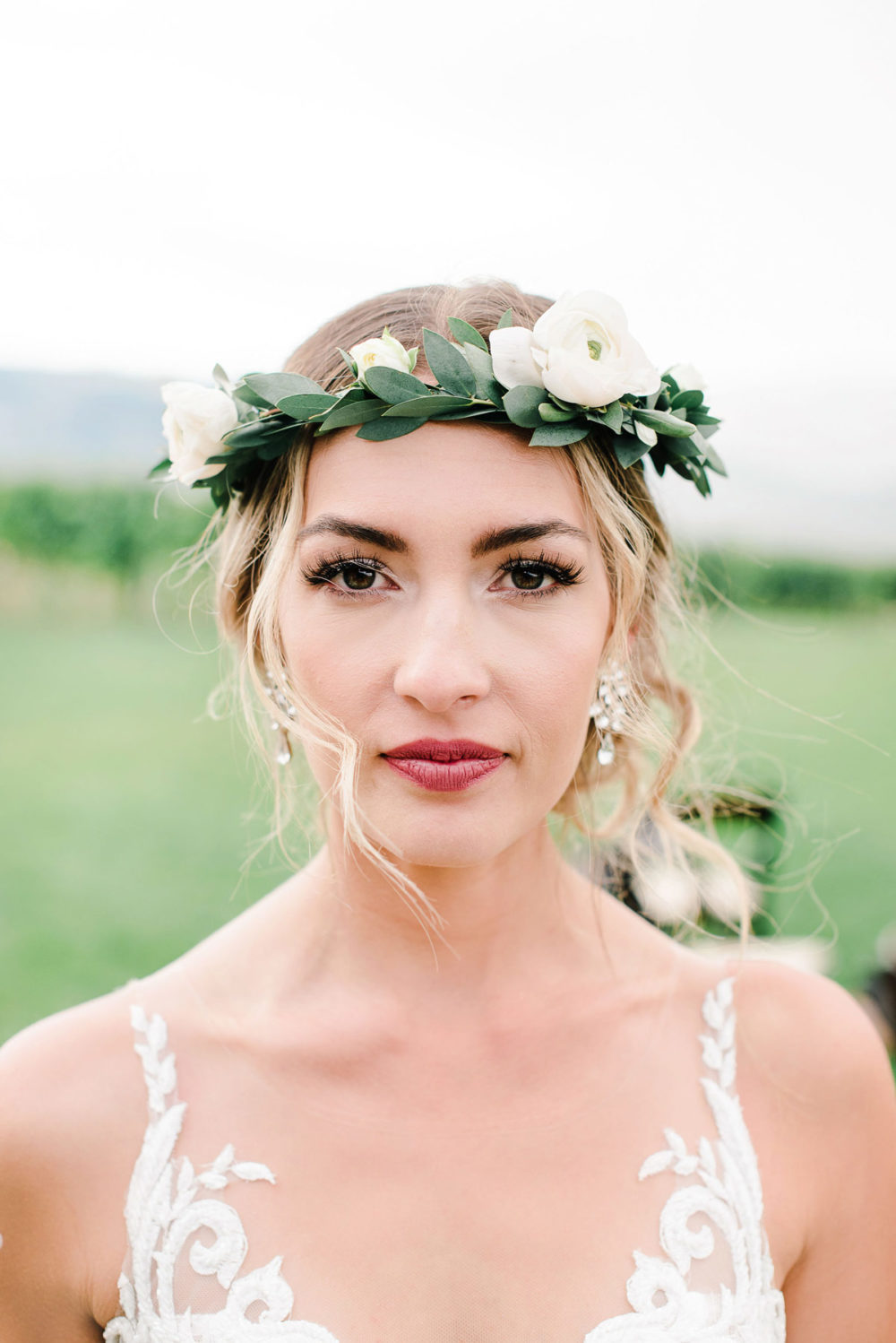 blonde sophisticated boho wedding with flower crown